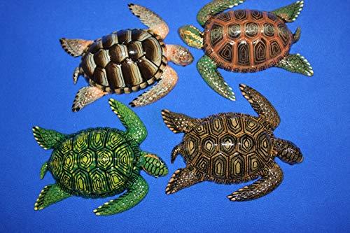 Salty Pelican Realistic Sea Turtles Wall Decor Vivid Colors polyresin, 3-D Details Front, Flat Back w/Hanger, Bundle of 4 Sea - Pelican Replica