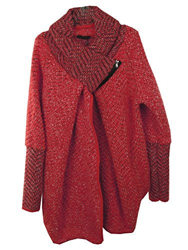 Veste Cape Poncho Cocoon Lagenlook Chenille Wool Oversize Rouge Zip Mesdames Femmes Layer Collar italienne Manteau Quirky Marl Feel GG Coatigan aZPFOpqnwp