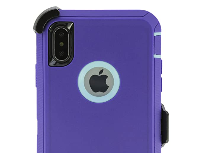 new style 58719 f76c2 OtterBox Defender Case for iPhone XR with Belt Clip Holster fits OtterBox  with Tempered Glass Screen Protector - Purple Blue Aqua