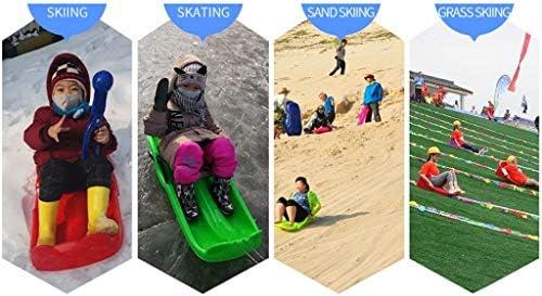 WXBP Children's Snow Sleds Heavy Duty Sledge Toboggan Sleigh Sled Unisex Ski Fun Board for Kid Ski Board (Color : Blue)