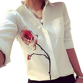 ZARU Las mujeres de la blusa de manga larga flor de Rose vuelta abajo a la gasa del collar camisas blancas (S)