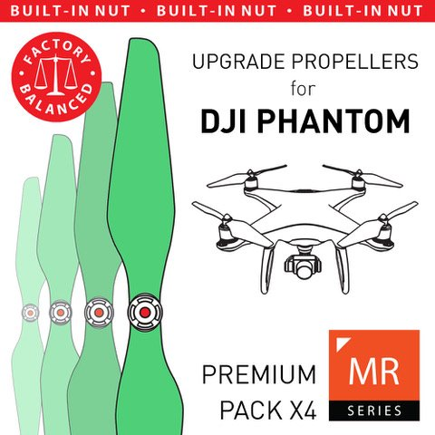 MAS Upgrade Propellers for DJI Phantom with Built-in Nut in Green - x4 in Set