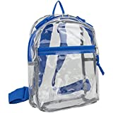 Eastsport 100% Transparent Clear Mini Backpack with Adjustable Straps, Clear/Blue For Sale