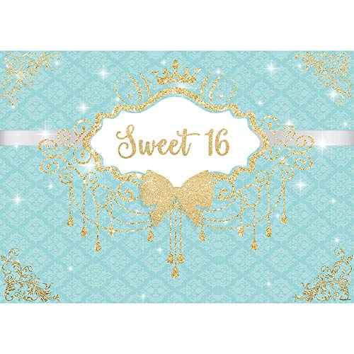 Allenjoy 7X5ft Breakfast Bowknot Turquoise Co Blue Girls Sweet 16 Birthday Party Backdrop Golden Crown Fringes Dessert Candy Cake Table Decors Decorations Banner Supplies Photo Shoot