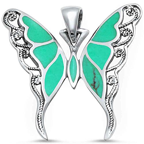 (Oxford Diamond Co Solid Sterling Silver Abalone Shell, Onyx or Turquoise Inlay Buttterfly .925 Sterling Silver Statement Pendant (Turquoise))