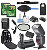 Super Accessory Kit For Canon Rebel 80D with Battery Grip + Extra Battery + Flash + 2 PC 32 GB SD Cards + Backpack