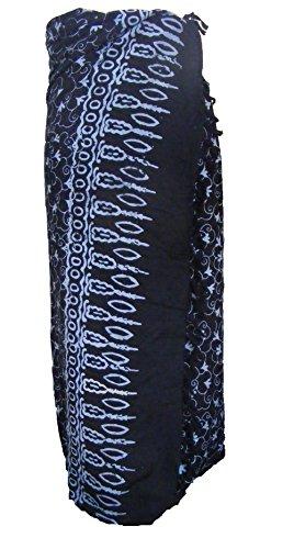 Buntes Hochwertiges Balinesisches Schwarz Sarong mit türkisem Blumenmuster perfektes badeanzug cover-up, großartig für Urlaub am Strand - Fair Trade