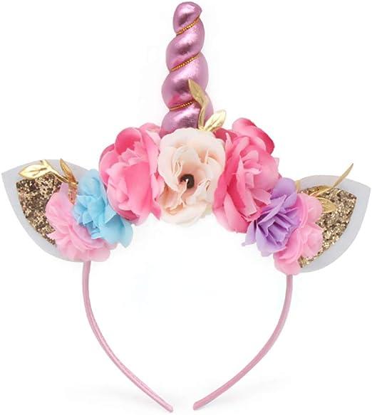 Wind Goal Diadema con diseño de Unicornio para niñas con Orejas de ...