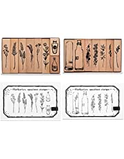 Tosnail 15 Pieces Wood Rubber Stamps, Flower and Vase Decorative Wooden Stamps for Diary, Letters, Scrapbook, Card Making, Crafts
