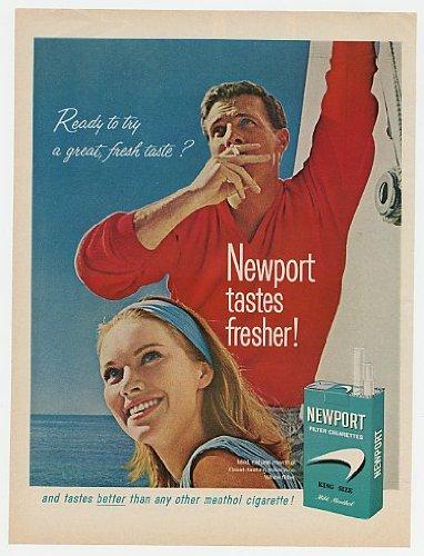 1965 Newport Cigarette Couple Sailing Print Ad