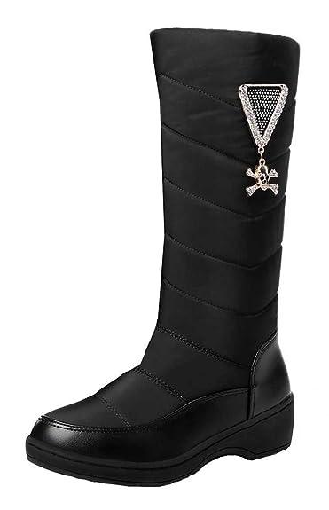 Women's Fashion Waterproof Pendant Fully Lined Mid Calf Mid Heel Platform Warm Winter Snow Boots