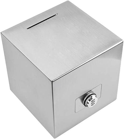 Caja de ahorros Caja de ahorros Hucha de Acero Inoxidable con Bloqueo Adulto Papel Moneda Moneda Hucha Moneda Piggy Bank Decoración Regalo (tamaño : Small): Amazon.es ...