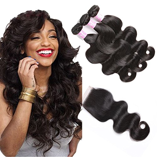 Body Wave Bundles with 4X4 Lace Closure Brazilian Virgin Hair 3 Bundles With Closure Free Part 100% Unprocessed Remy Human Hair Extensions (22 24 26 with 20, Natural Black)