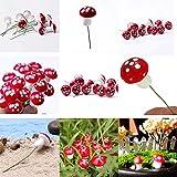 VHLL 10Pcs/Set Artificial Mini Mushroom Miniatures Fairy Garden Moss Terrarium Resin Crafts Stakes Craft for Home Decorations 2cm