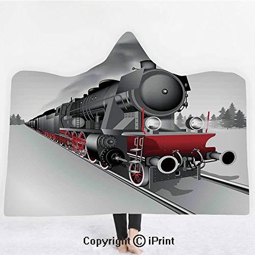 Steam Engine 3D Print Soft Hooded Blanket Boys Girls Premium Throw Blanket,Locomotive Red Black Train with Headlights on Steel Railway Track Graphic Print,Lightweight Microfiber(Kids 50