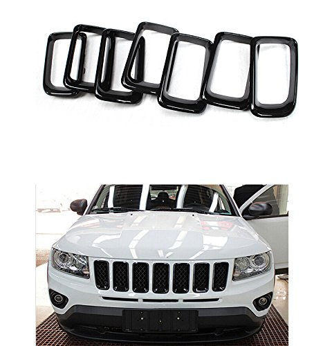 HONETECH Black Front Grille Grill Insert Cover Frame Trims For Jeep Compass 2011 2012 2013 2014 2015 2016 (Black)