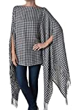 Womens Fashion Shawl Scarf Poncho Kimono Caftan Black White Plaid One Size Tunic Top
