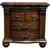 HOMES: Inside + Out IDF-7736N Helena Nighstand Carved Nightstand, One-size