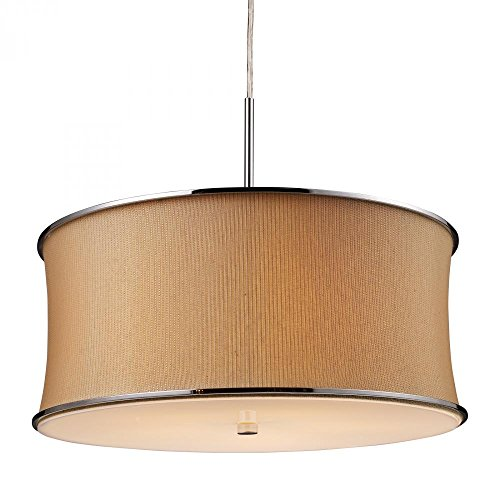 (Elk 20020/5 Fabrique 5-Light Drum Pendant In Polished Chrome and Textured Tan Shade)