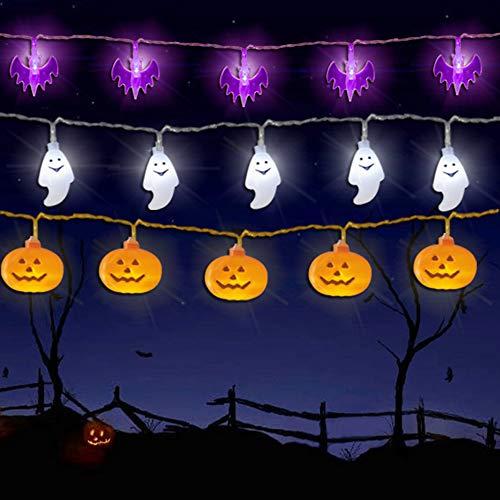 WesGen Halloween Lights Battery Operated Halloween Decorations String Lights for Outdoor and Indoor,Set of 3