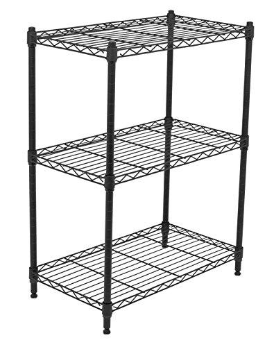 Internet's Best 3-Tier Wire Shelving | Flat Black | Heavy Duty Shelf | Wide Adjustable Rack Unit | Kitchen - 3 Shelving Tier