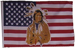 """AES 12x18 12""""x18"""" USA American Indian Native Chief Sleeve Flag Boat Car Garden House Banner Double Stitched Fade Resistant Premium Quality"""