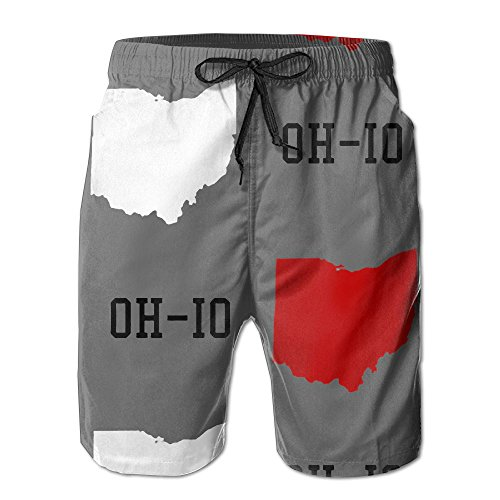 - Oh-io State Gray Men's Summer Surf Swim Trunks Beach Shorts Pants Quick Dry with Pockets