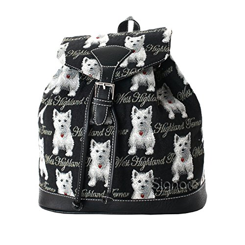 Pull Dog Print WES Casual Tapestry Women��s Backpack Buckle amp; Signare String Flap Black White Rucksack by Fashion Westie RUCK qIUwztAt