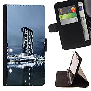 DEVIL CASE - FOR Sony Xperia Z1 L39 - Urban Cityscape Night - Style PU Leather Case Wallet Flip Stand Flap Closure Cover