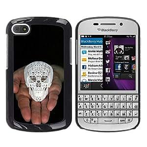 Shell-Star Arte & diseño plástico duro Fundas Cover Cubre Hard Case Cover para BlackBerry Q10 ( Skull Printed 3D White Palm Black )