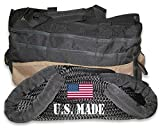 BILLET4X4 U.S. made 1 inch X 10 ft KINETIC RECOVERY ROPE (Snatch Rope) MILITARY-GRADE (BLACK) with Heavy-Duty Carry Bag (4X4 VEHICLE RECOVERY)