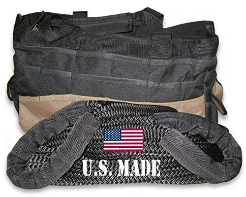 U.S. made 1 inch X 10 ft KINETIC RECOVERY ROPE (Snatch Rope) MILITARY-GRADE (BLACK) with Heavy-Duty Carry Bag (4X4 VEHICLE RECOVERY)
