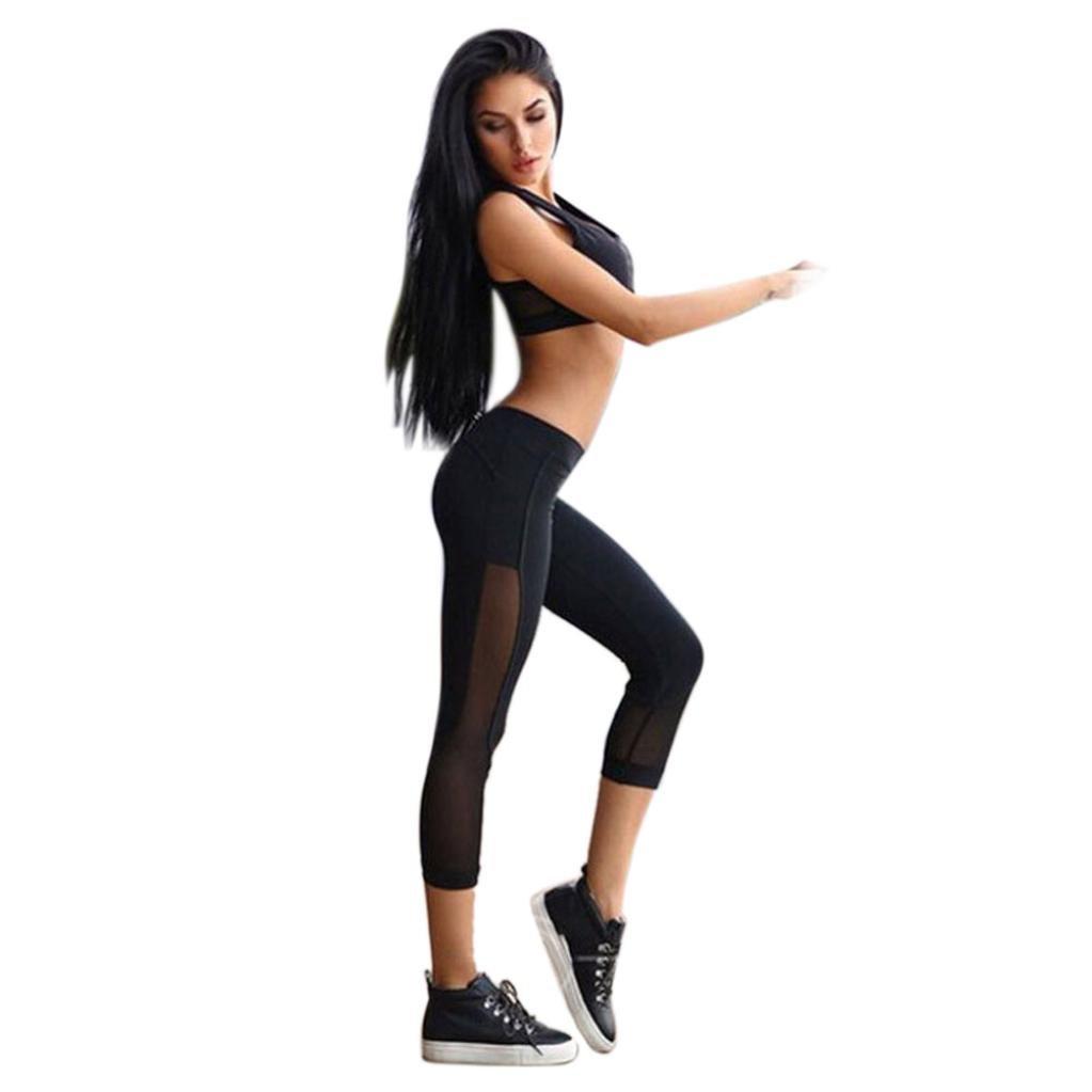 Sumen Women Skinny Patchwork Mesh Yoga Leggings Fitness Sports Capri Pants
