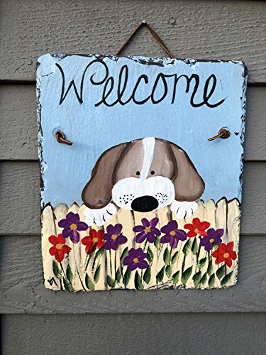 MaxwellYule Spring Slate Sign Painted Slate Welcome Sign Spring Door Hanger Dog Welcome Sign Spring Door Decor Welcome Plaque Dog Lovers