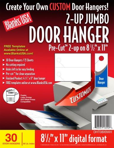 BLANKS/USA Pre-Cut Jumbo Door HangEr, 15 Sheets, 30 Door Hangers (DHT08X9WH) - Blanks Door Hanger