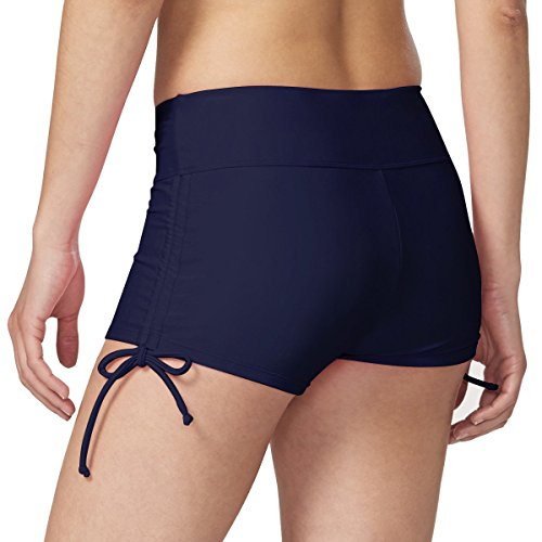 Baleaf Women's Fully Lined Boy Short Swim Bikini Bottom With Adjustable Ties Navy Size S