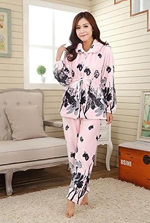 &zhou pijamas mujer ocio Rebeca mantenga invierno cálido pijamas gruesos conjuntos de ropa hogar , pink