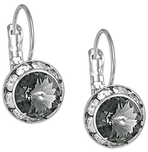 Swarovski Crystal Elements Silver Tone Framed Black Diamond Color Leverback Earrings for Women