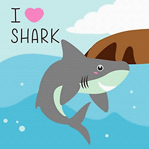 Komidea Paint by Number Kits for Kids, DIY Oil Painting Paint by Numbers - I Love Shark 8x8inch