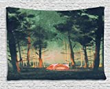 Fantasy Art House Decor Tapestry by Ambesonne, Camping in Forest at Night with Stars Fireflies Magical Nature Scene, Wall Hanging for Bedroom Living Room Dorm, 80WX60L Inches, Orange