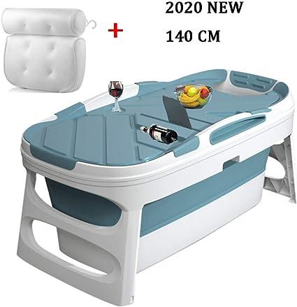 Baignoire Pliante Adulte 140 Cm Baignoire Pliable Baignoire Amovible Avec Coussin De Bain Blue Amazon Fr Cuisine Maison