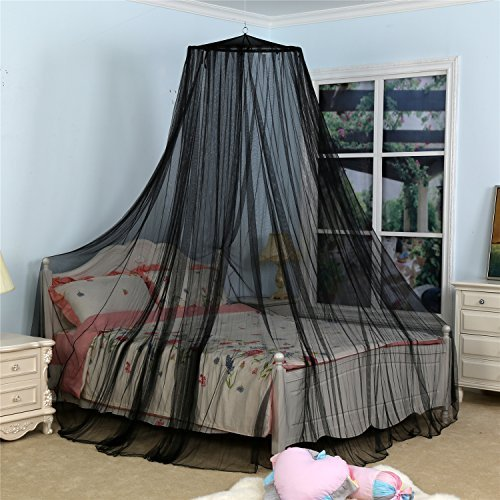 Circular Mosquito Netting Diamond Canopy for Indoor/Outdoor, Camping or Bedroom Fit A King Size Bed(Black)