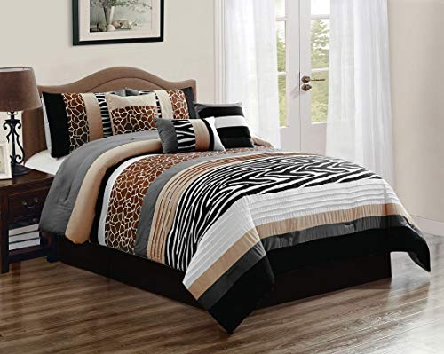 KingLinen 7 Piece Nolan Safari Comforter Set Queen (Comforter Animal Set Print)