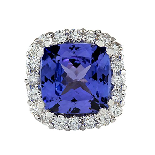 5.35 Carat Natural Blue Tanzanite and Diamond (F-G Color, VS1-VS2 Clarity) 14K White Gold Luxury Cocktail Ring for Women Exclusively Handcrafted in USA (Gold Jewelry Tanzanite White Ring)