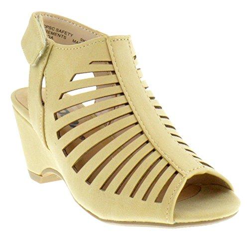 Kids Beige Shoes Nubuck (Sod Shake Iih Little Girls Cut Out Heeled Peep Toe Sandals Beige Nubuck 11)