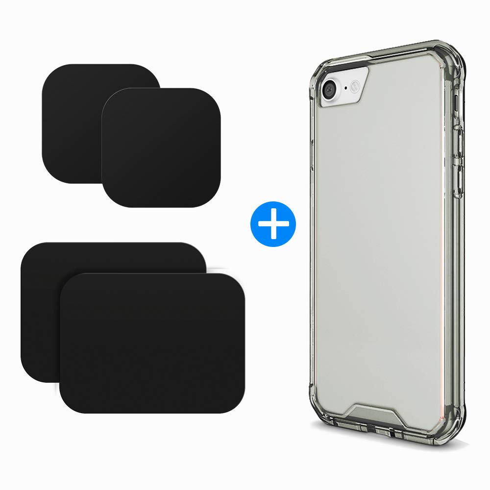huge discount 4ef7a d96c3 7/8 Phone Case and Phone Magnets Metal Plate, VOLPORT Protective Phone Case  for Apple iPhone 8 iPhone 7, 4 Pack Car Mount Magnetic Plate disc for ...