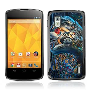 YOYOSHOP [Cute Cat Psychedelic Pattern] LG Google Nexus 4 Case by icecream design