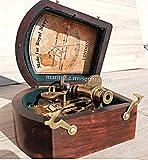 MAH Astrolabe 3'' Beautiful Handicraft Brass Sextant with Wooden Box. C-3216