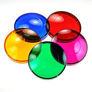 5 Colored Lens Cover Caps for Hot Tub Spa Light - Snap on Red, Blue, Green, Purple, Amber