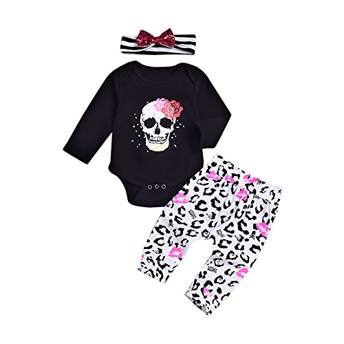 Mikrdoo Toddler Girl Clothes Long Sleeve Skull Black Rompers + Pants Leggings + Headband 3pcs Outfits Set (0-6 Months, A) by Mikrdoo